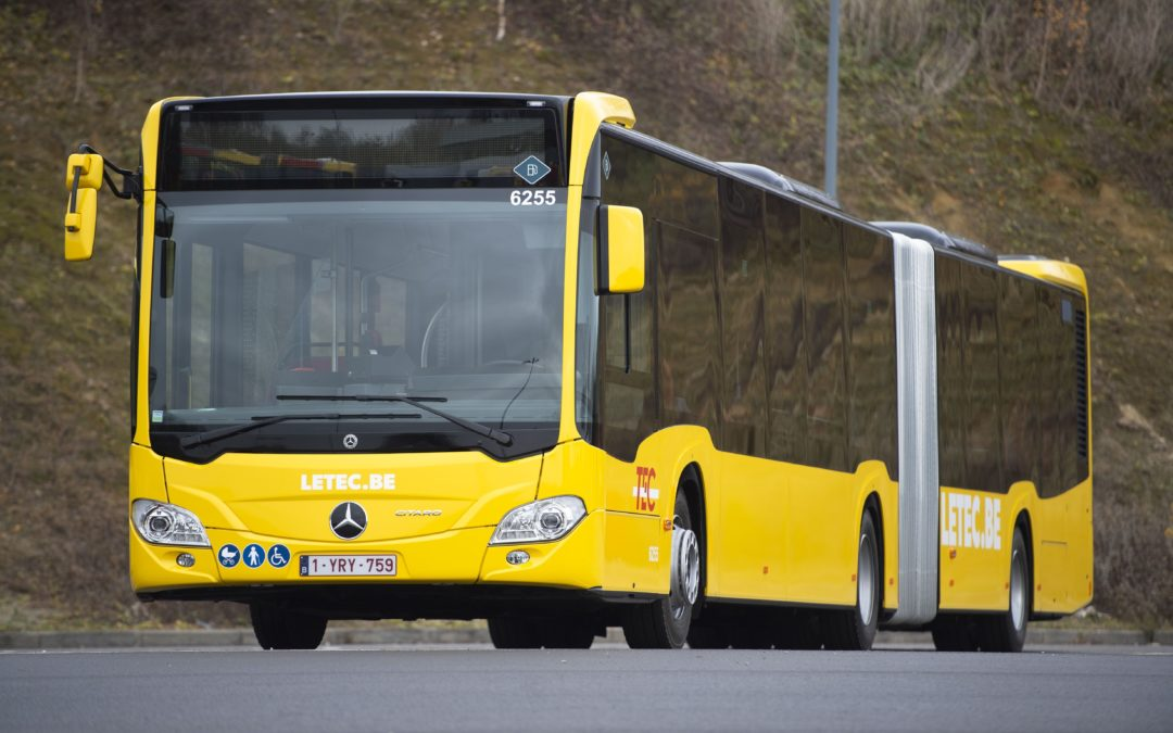 Articulated buses in the yellow jersey for Belgium